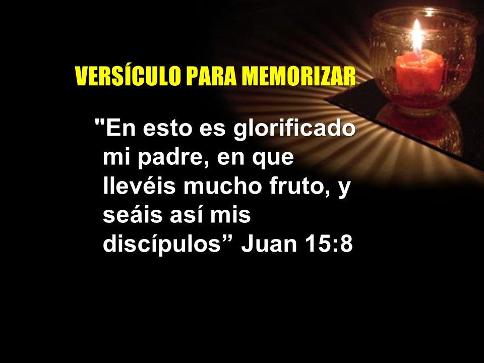 V E R S Í C U L O P A R A M E M O R I Z A R En esto es glorificado mi padre, en que llevéis mucho fruto, y seáis así mis discípulos Juan 15:8