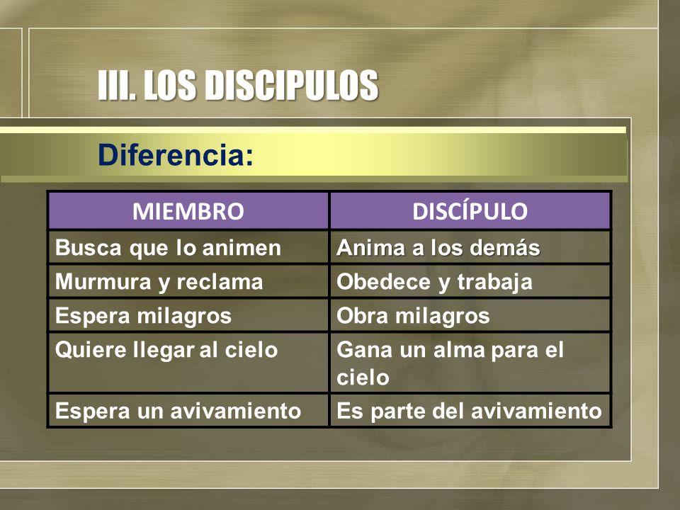 III. LOS DISCIPULOS Diferencia: MIEMBRODISCÍPULO Busca que lo animen Anima a los demás Murmura y reclamaObedece y trabaja Espera milagrosObra milagros
