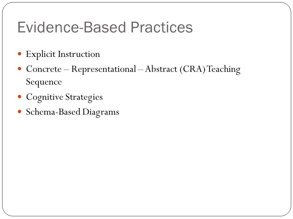 Evidence-Based Practices Explicit Instruction Concrete – Representational – Abstract (CRA) Teaching Sequence Cognitive Strategies Schema-Based Diagrams