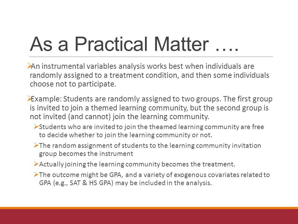 As a Practical Matter ….