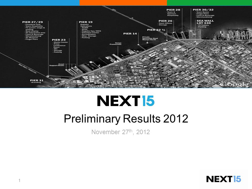 Preliminary Results 2012 1 November 27 th, 2012