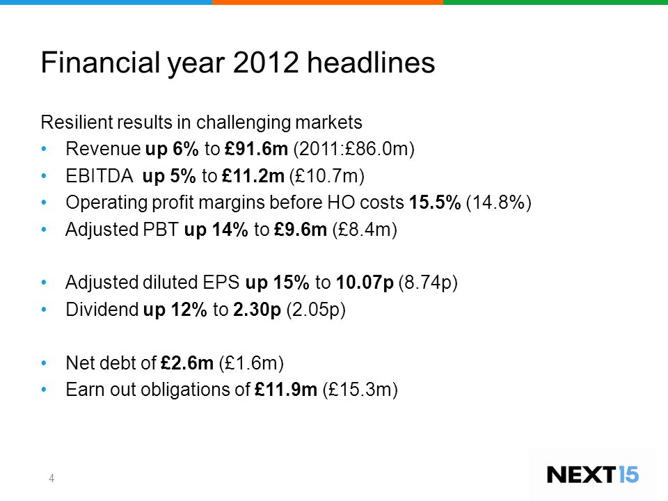 Financial year 2012 headlines Resilient results in challenging markets Revenue up 6% to £91.6m (2011:£86.0m) EBITDA up 5% to £11.2m (£10.7m) Operating