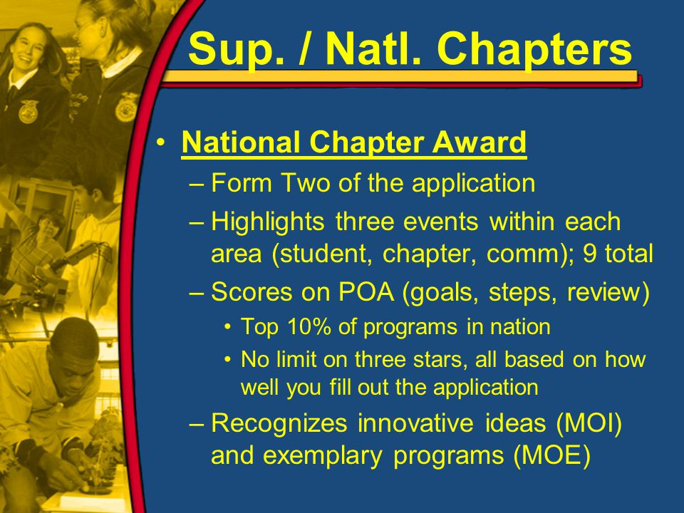 Sup. / Natl. Chapters National Chapter Award –Form Two of the application –Highlights three events within each area (student, chapter, comm); 9 total