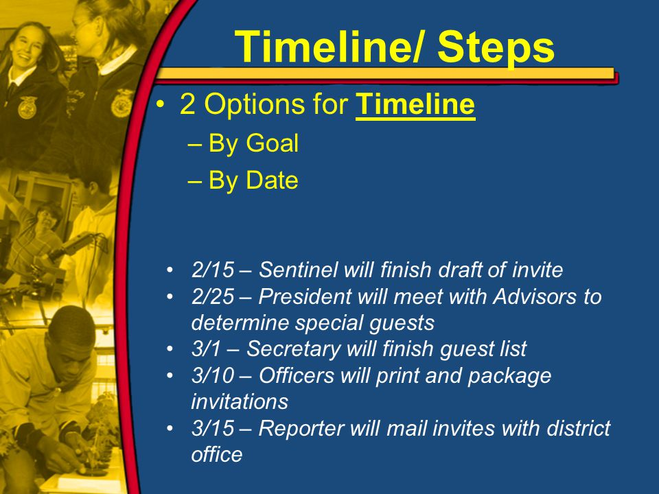 2 Options for Timeline –By Goal –By Date Timeline/ Steps 2/15 – Sentinel will finish draft of invite 2/25 – President will meet with Advisors to determine special guests 3/1 – Secretary will finish guest list 3/10 – Officers will print and package invitations 3/15 – Reporter will mail invites with district office