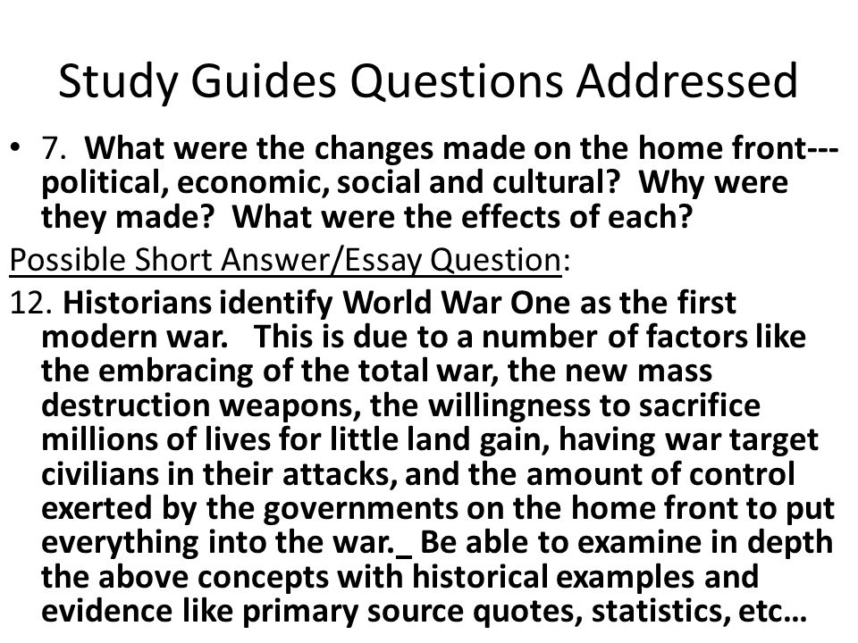 Study Guides Questions Addressed 7.