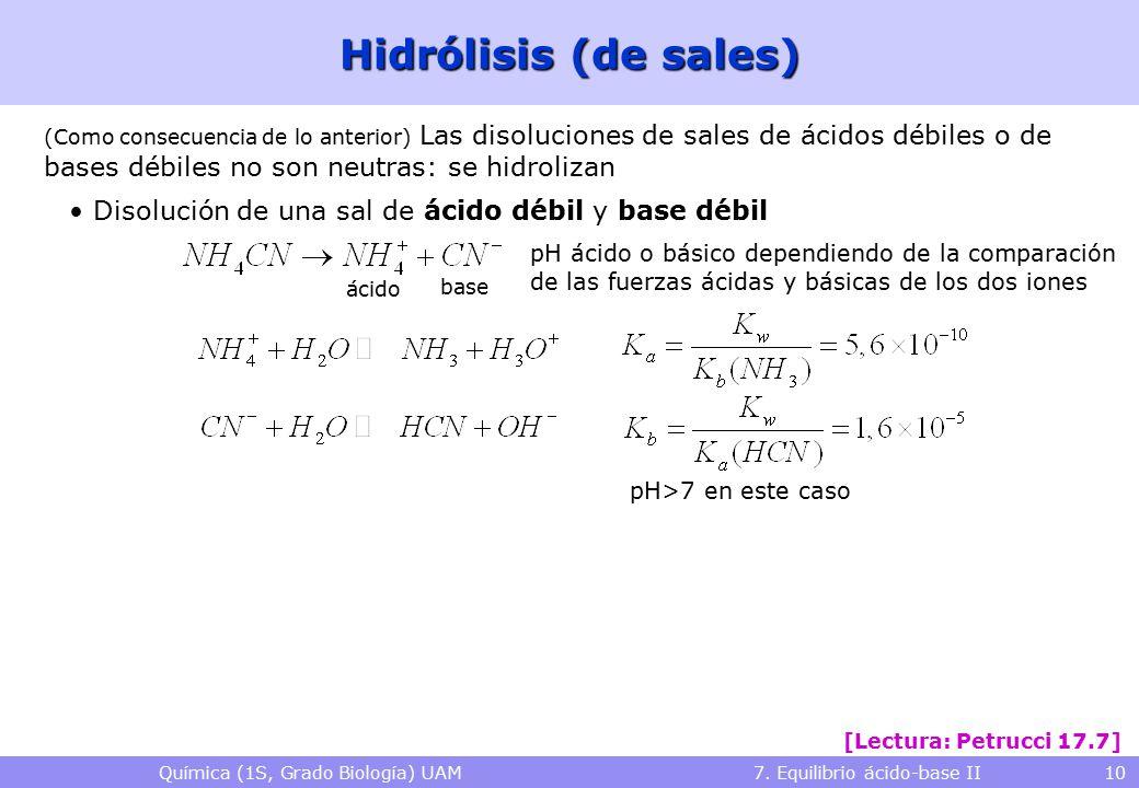 Química (1S, Grado Biología) UAM 7. Equilibrio ácido-base II 10 Hidrólisis (de sales) (Como consecuencia de lo anterior) Las disoluciones de sales de