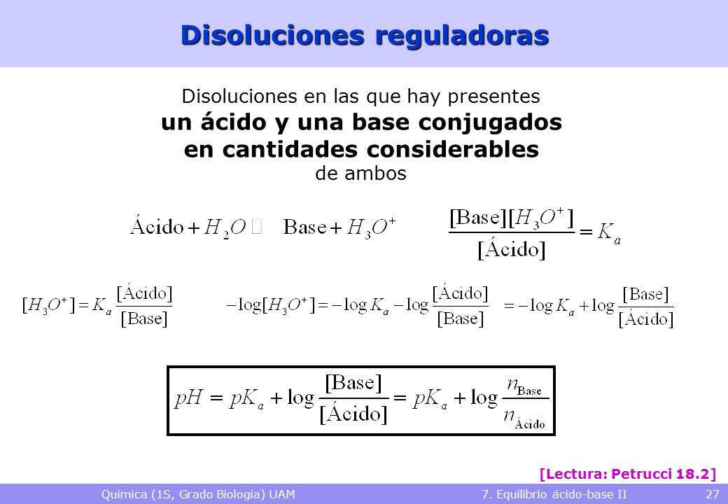 Química (1S, Grado Biología) UAM 7. Equilibrio ácido-base II 27 Disoluciones reguladoras [Lectura: Petrucci 18.2] Disoluciones en las que hay presente