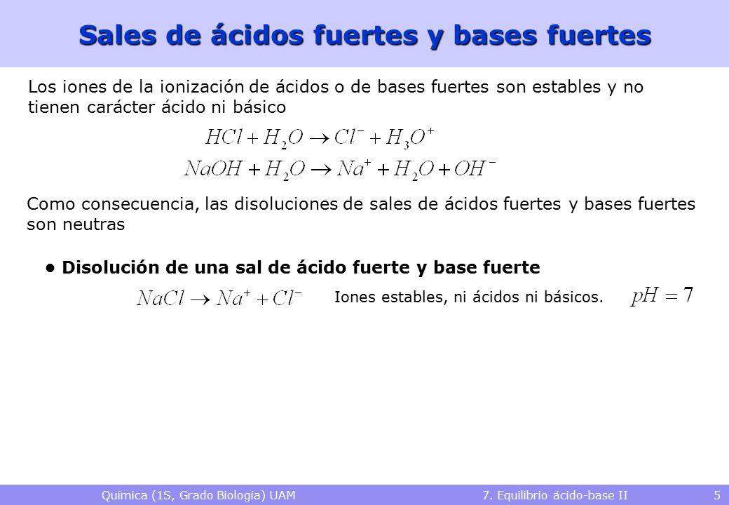 Química (1S, Grado Biología) UAM 7. Equilibrio ácido-base II 5 Sales de ácidos fuertes y bases fuertes Los iones de la ionización de ácidos o de bases