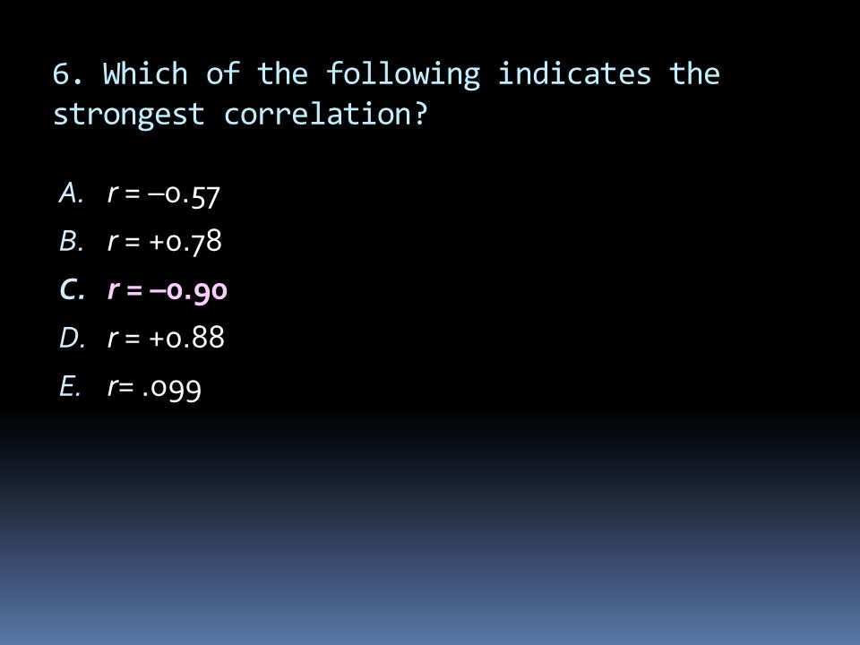 6. Which of the following indicates the strongest correlation? A. r = –0.57 B. r = +0.78 C. r = –0.90 D. r = +0.88 E. r=.o99