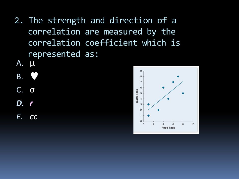 2. The strength and direction of a correlation are measured by the correlation coefficient which is represented as: A. μ B.  C. σ D. r E. cc