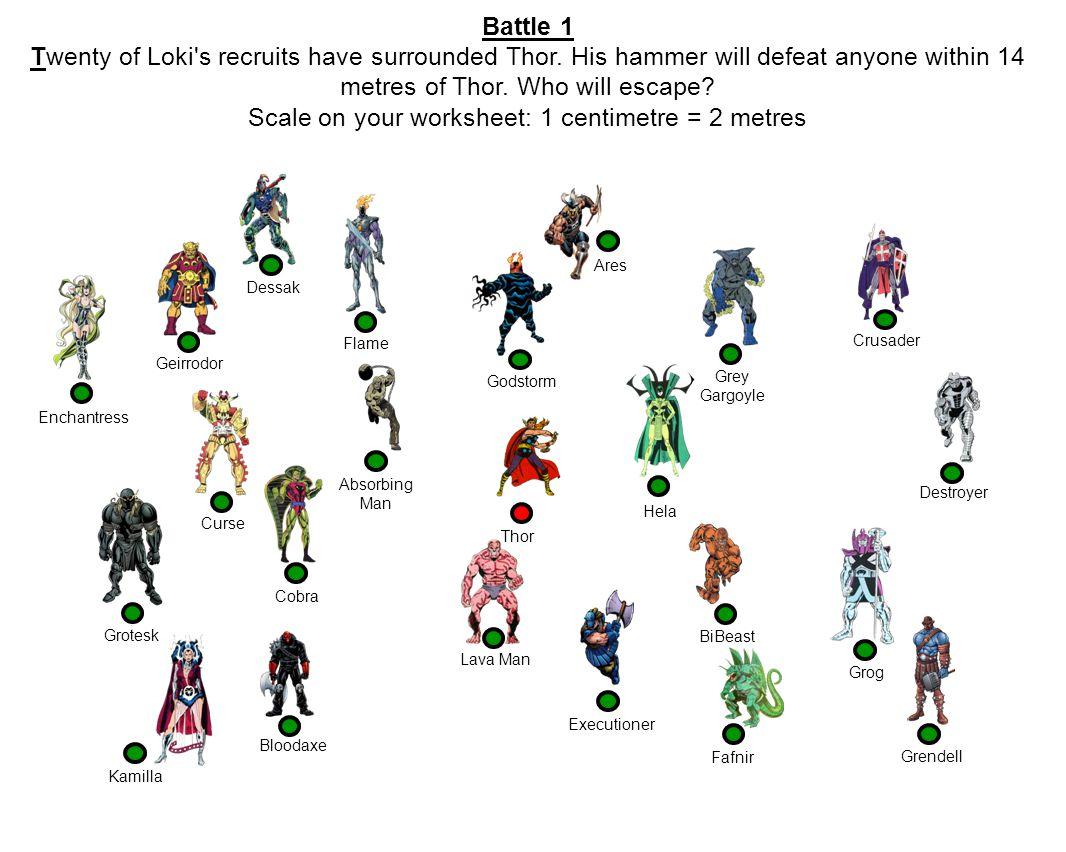 Battle 1 Twenty of Loki s recruits have surrounded Thor.