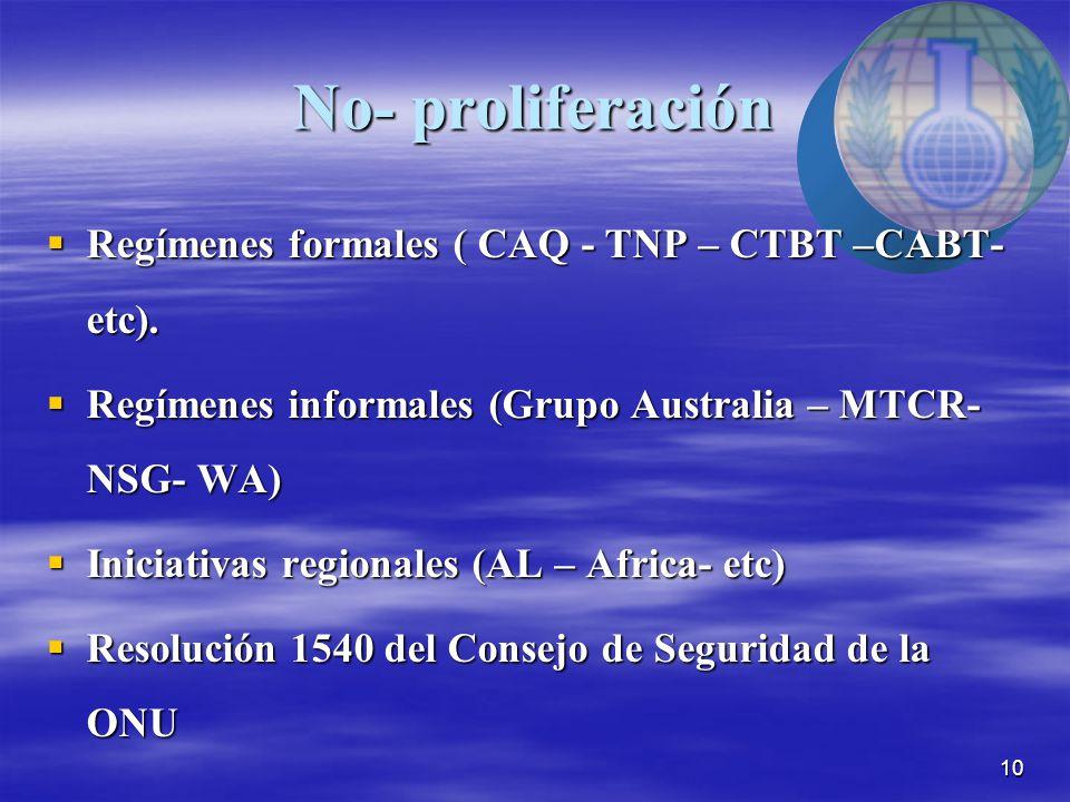 10 No- proliferación  Regímenes formales ( CAQ - TNP – CTBT –CABT- etc).