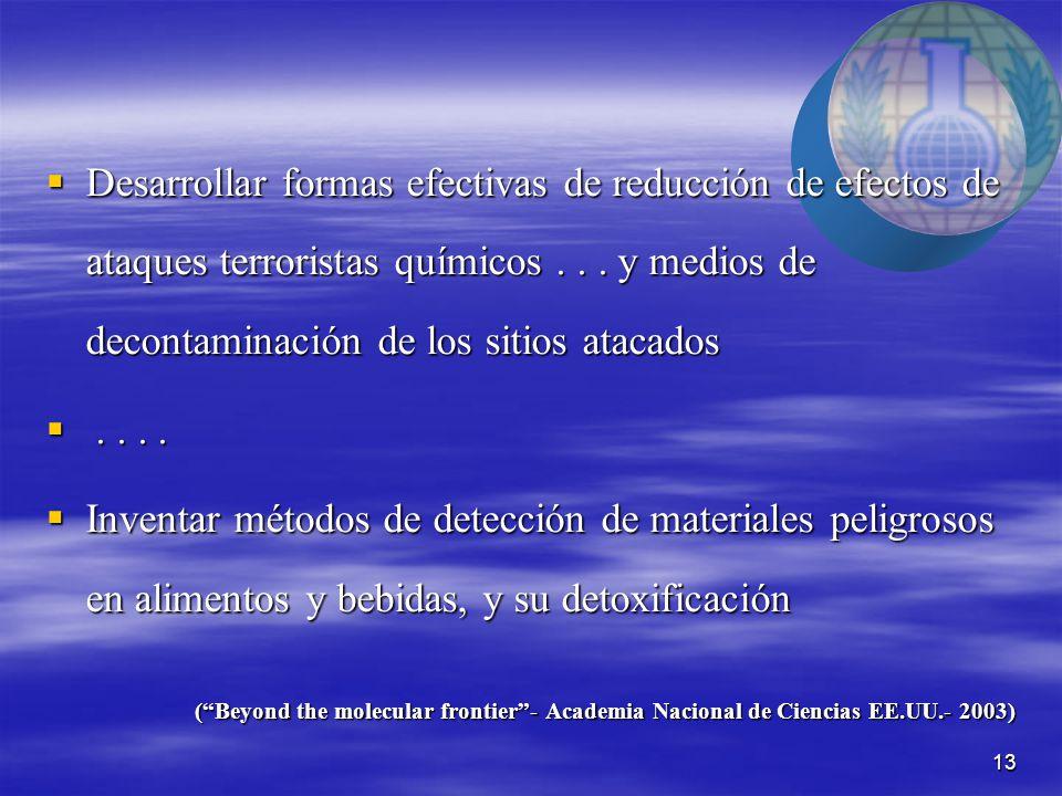 13  Desarrollar formas efectivas de reducción de efectos de ataques terroristas químicos...