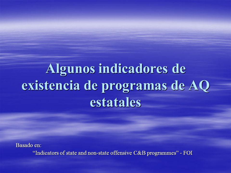 Algunos indicadores de existencia de programas de AQ estatales Basado en: Indicators of state and non-state offensive C&B programmes - FOI