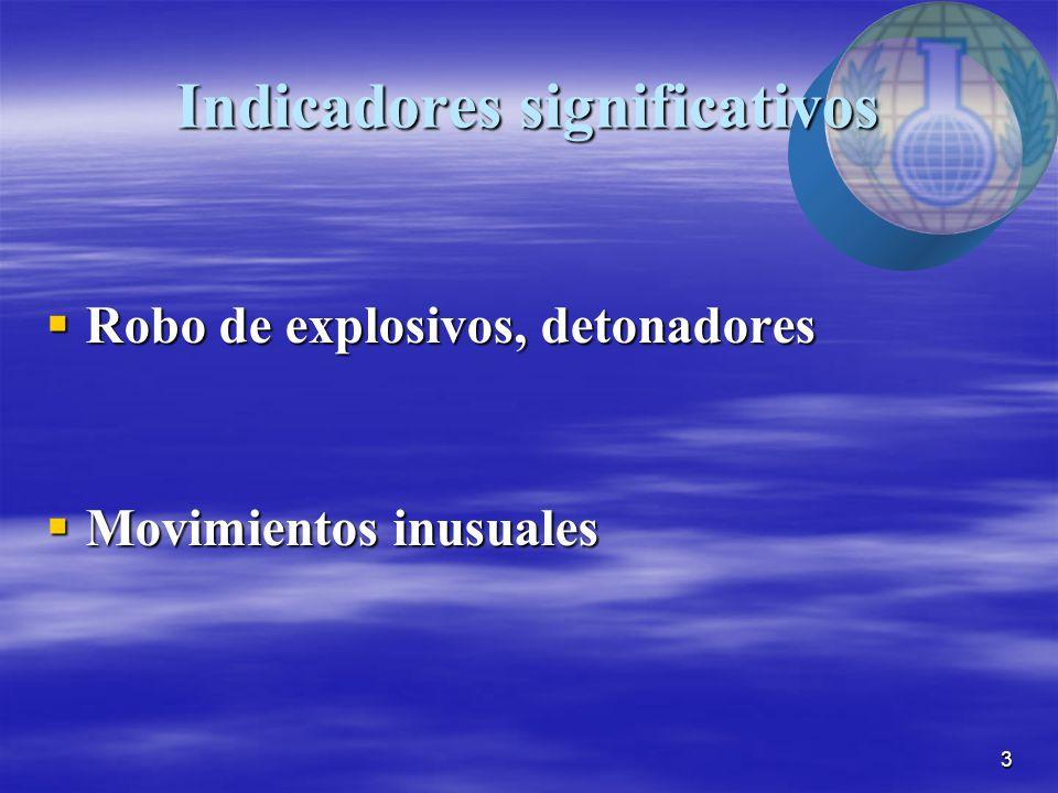 3 Indicadores significativos  Robo de explosivos, detonadores  Movimientos inusuales