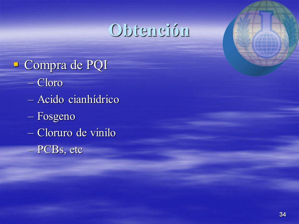 34 Obtención  Compra de PQI –Cloro –Acido cianhídrico –Fosgeno –Cloruro de vinilo –PCBs, etc