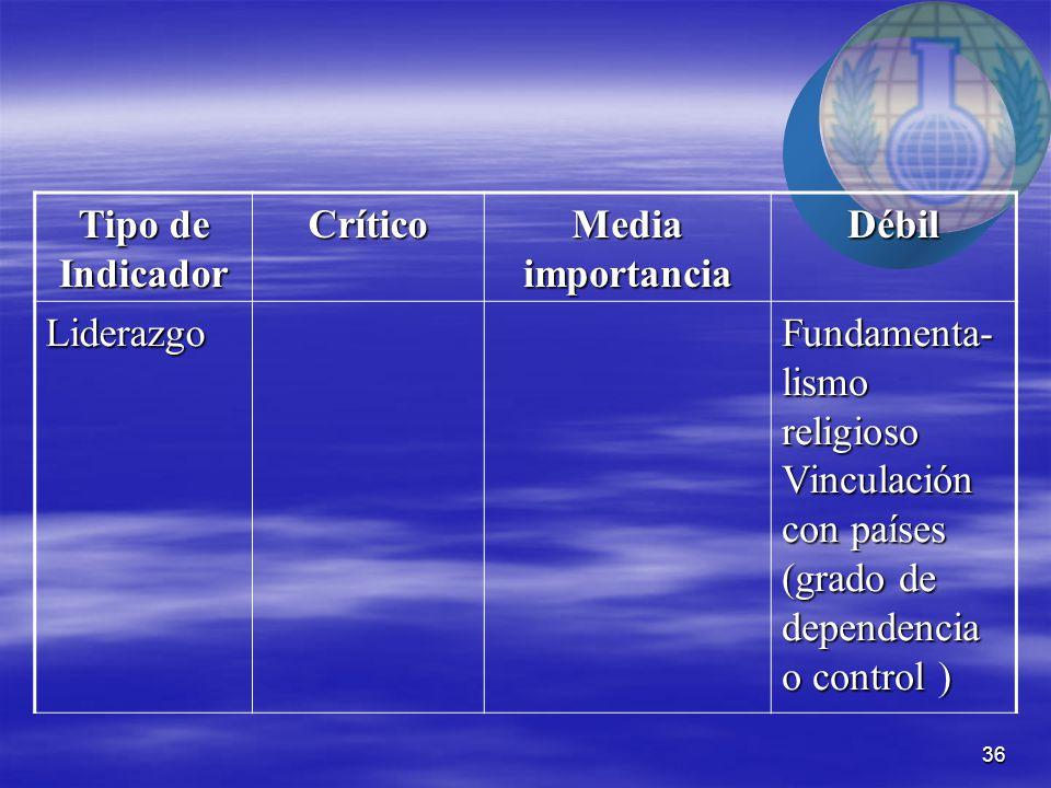 36 Tipo de Indicador Crítico Media importancia Débil Liderazgo Fundamenta- lismo religioso Vinculación con países (grado de dependencia o control )