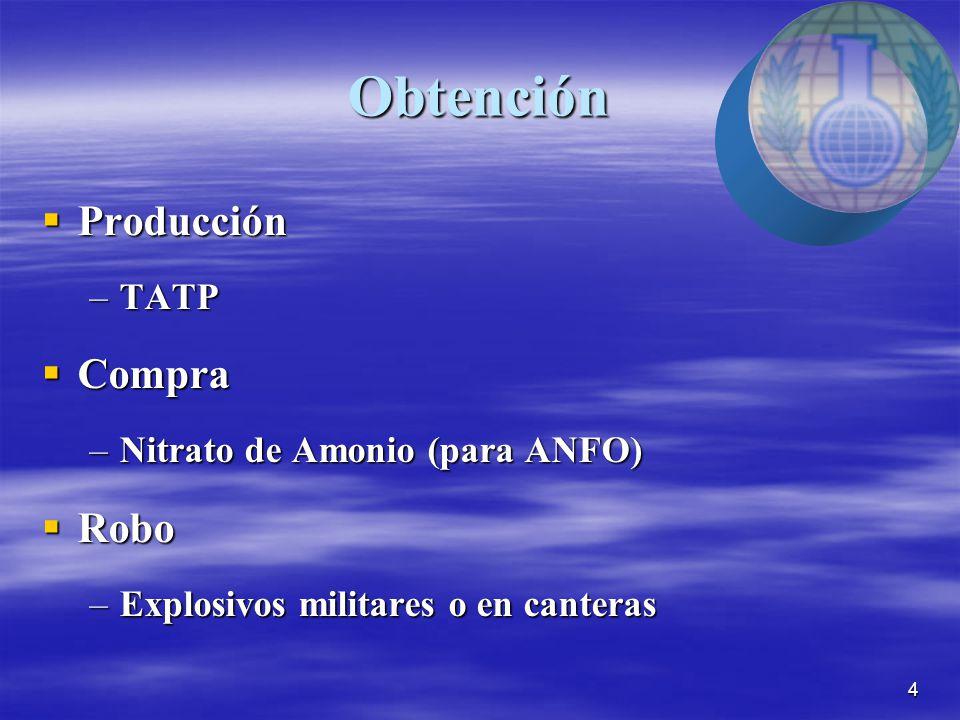 4 Obtención  Producción –TATP  Compra –Nitrato de Amonio (para ANFO)  Robo –Explosivos militares o en canteras