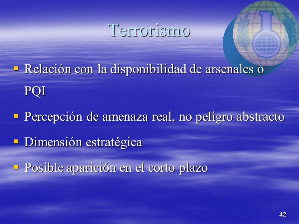 42 Terrorismo  Relación con la disponibilidad de arsenales o PQI  Percepción de amenaza real, no peligro abstracto  Dimensión estratégica  Posible aparición en el corto plazo