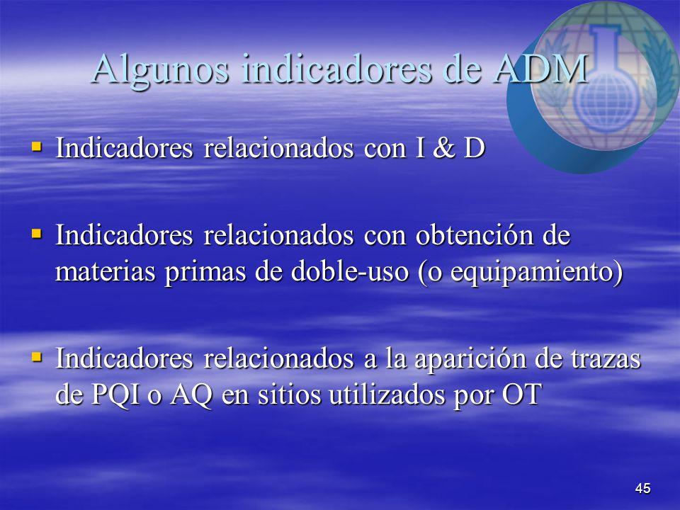 45 Algunos indicadores de ADM  Indicadores relacionados con I & D  Indicadores relacionados con obtención de materias primas de doble-uso (o equipamiento)  Indicadores relacionados a la aparición de trazas de PQI o AQ en sitios utilizados por OT