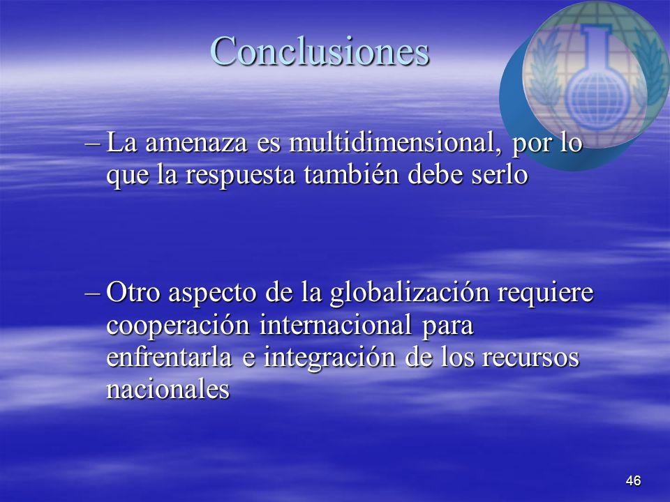 46 Conclusiones –La amenaza es multidimensional, por lo que la respuesta también debe serlo –Otro aspecto de la globalización requiere cooperación internacional para enfrentarla e integración de los recursos nacionales
