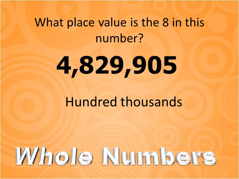 What place value is the 8 in this number? 4,829,905 Hundred thousands