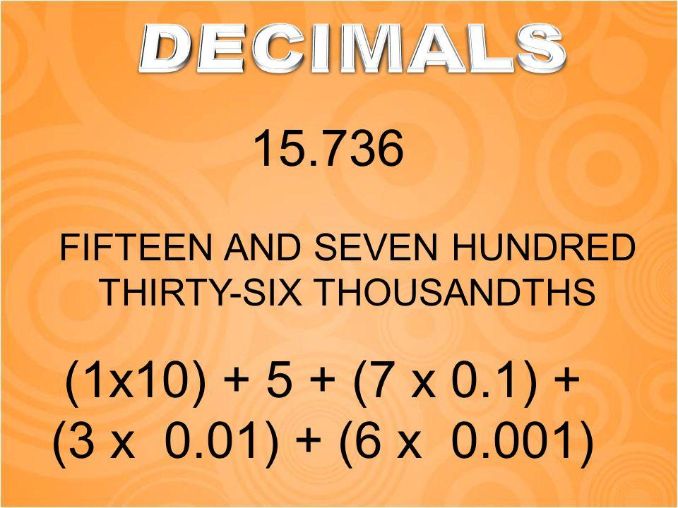 FIFTEEN AND SEVEN HUNDRED THIRTY-SIX THOUSANDTHS 15.736 (1x10) + 5 + (7 x 0.1) + (3 x 0.01) + (6 x 0.001)