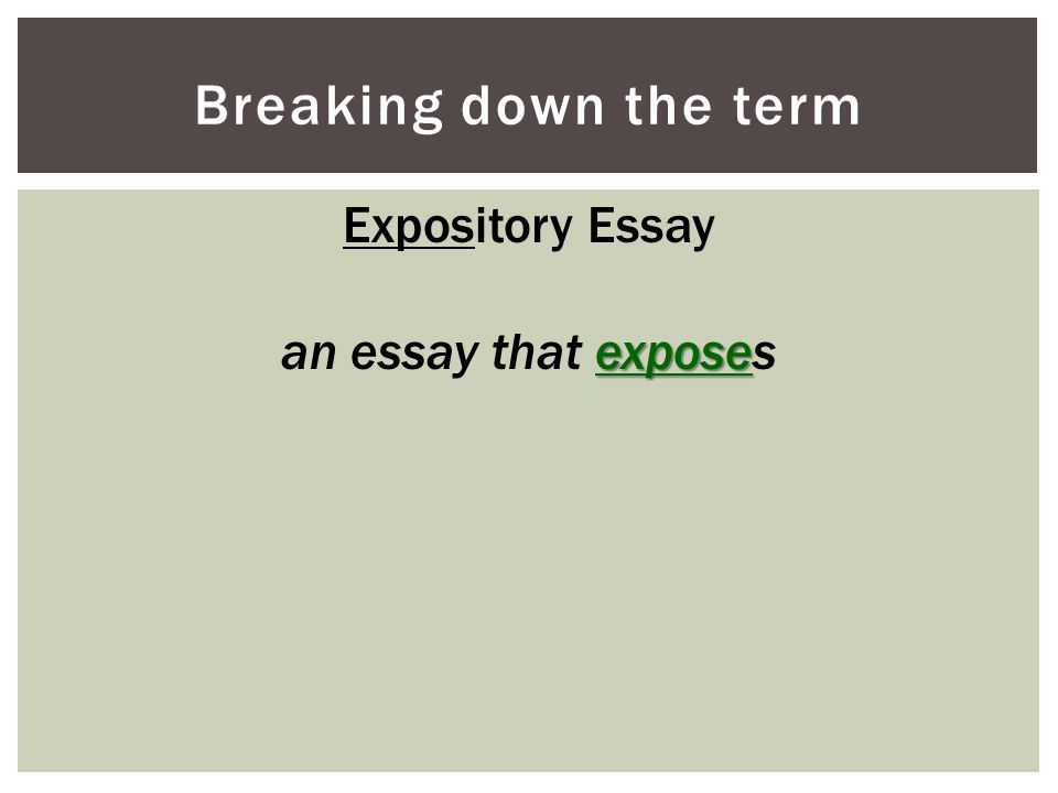 Breaking down the term Expository Essay expose an essay that exposes