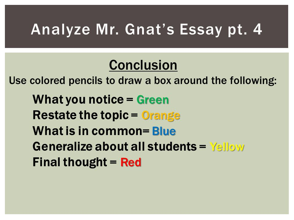 Analyze Mr. Gnat's Essay pt. 4 Conclusion Use colored pencils to draw a box around the following: Green What you notice = Green Orange Restate the top