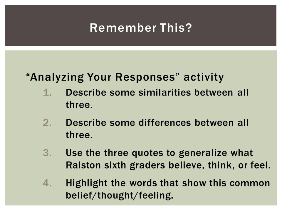 """Analyzing Your Responses"" activity 1.Describe some similarities between all three. 2.Describe some differences between all three. 3.Use the three quo"