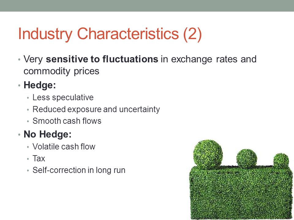 Industry Characteristics (2) Very sensitive to fluctuations in exchange rates and commodity prices Hedge: Less speculative Reduced exposure and uncertainty Smooth cash flows No Hedge: Volatile cash flow Tax Self-correction in long run