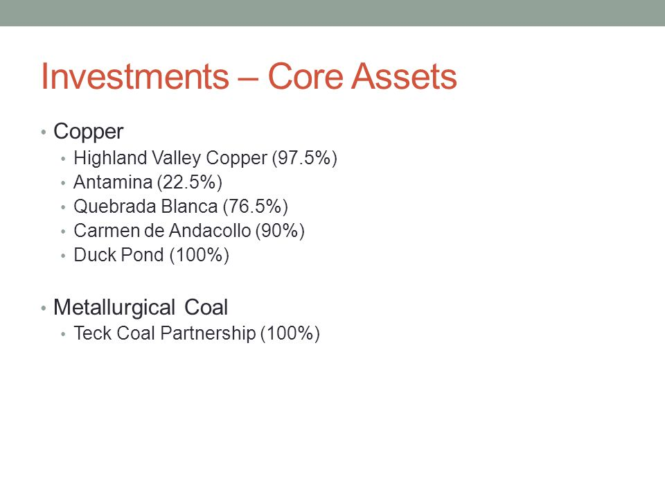 Investments – Core Assets Copper Highland Valley Copper (97.5%) Antamina (22.5%) Quebrada Blanca (76.5%) Carmen de Andacollo (90%) Duck Pond (100%) Me