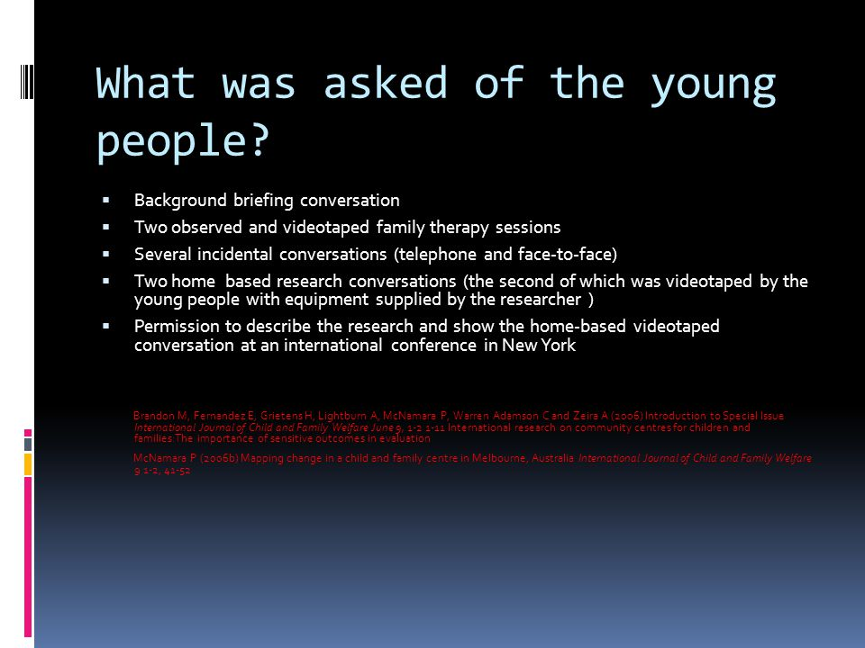 What was asked of the young people.
