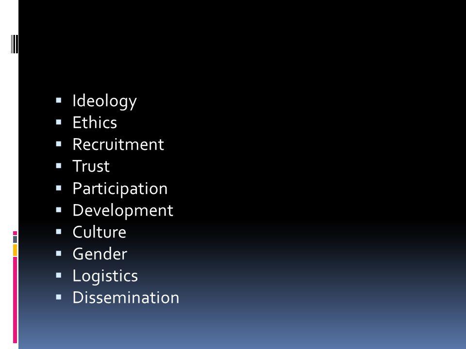  Ideology  Ethics  Recruitment  Trust  Participation  Development  Culture  Gender  Logistics  Dissemination