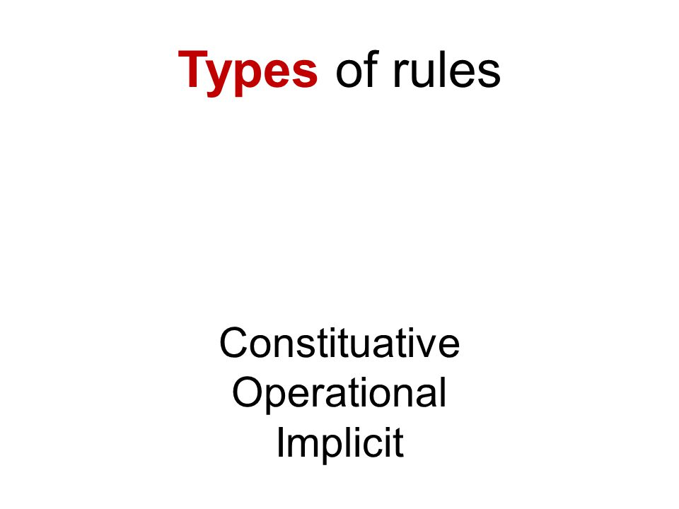 Types of rules Constituative Operational Implicit