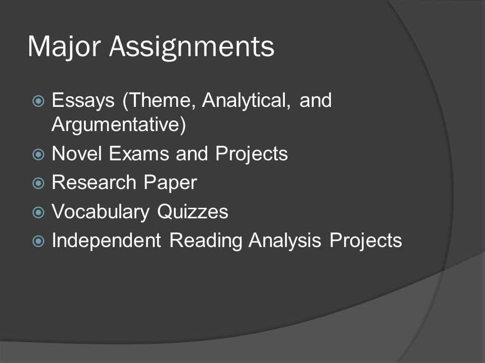 Major Assignments  Essays (Theme, Analytical, and Argumentative)  Novel Exams and Projects  Research Paper  Vocabulary Quizzes  Independent Readi