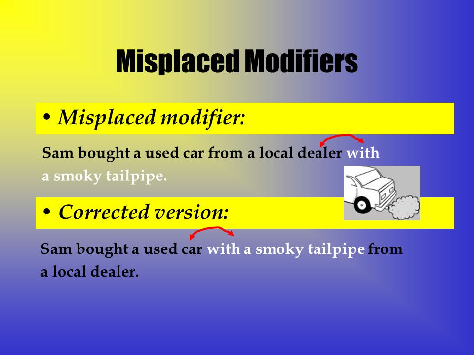 Misplaced Modifiers Misplaced modifier: Sam bought a used car from a local dealer with a smoky tailpipe.