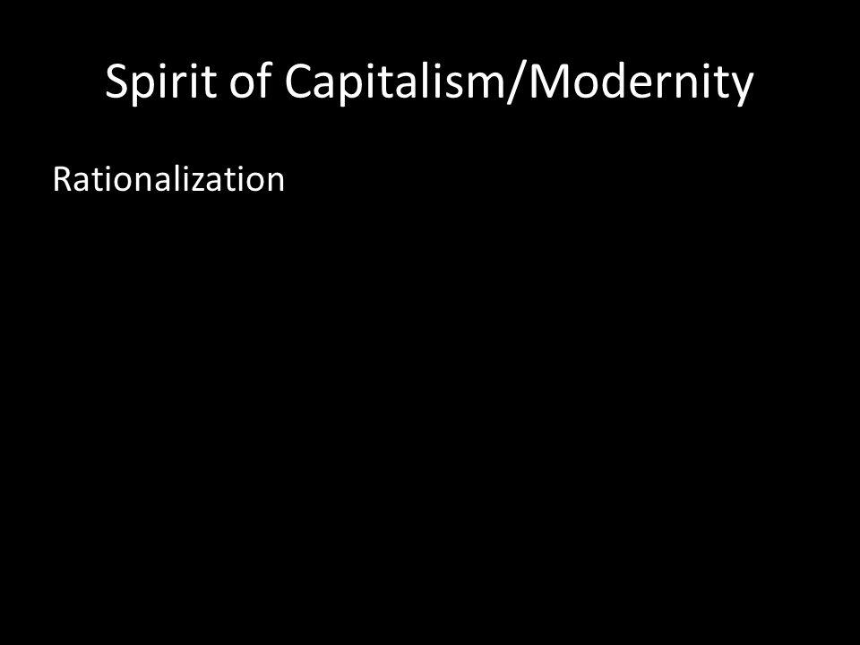Spirit of Capitalism/Modernity Rationalization