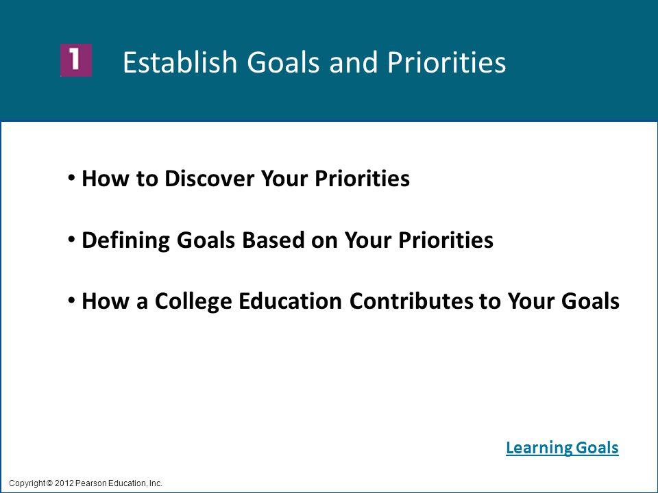 Establish Goals and Priorities Copyright © 2012 Pearson Education, Inc.