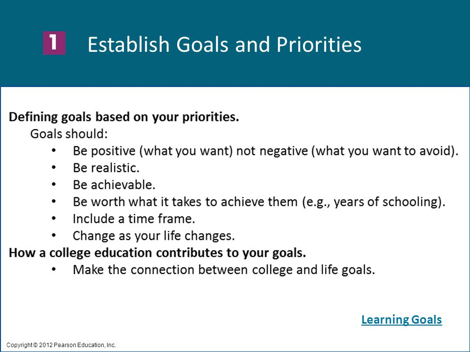 Establish Goals and Priorities Copyright © 2012 Pearson Education, Inc. Learning Goals