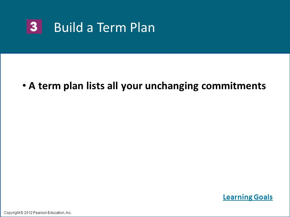 Build a Term Plan Copyright © 2012 Pearson Education, Inc.