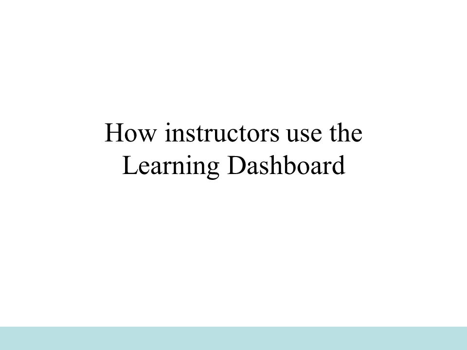How instructors use the Learning Dashboard