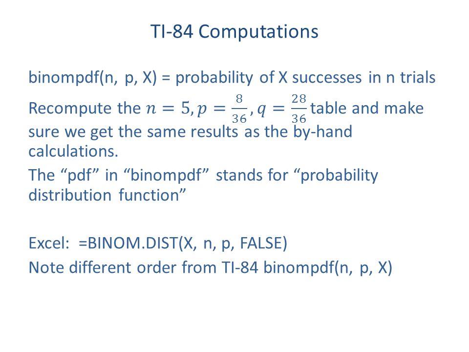 TI-84 Computations