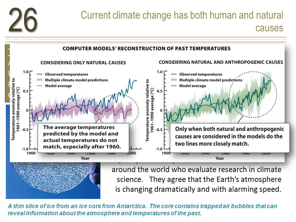 Current climate change has both human and natural causes26 TERMS TO KNOW Anthropogenic Intergovernmental Panel on Climate Change (IPCC) A thin slice of ice from an ice core from Antarctica.