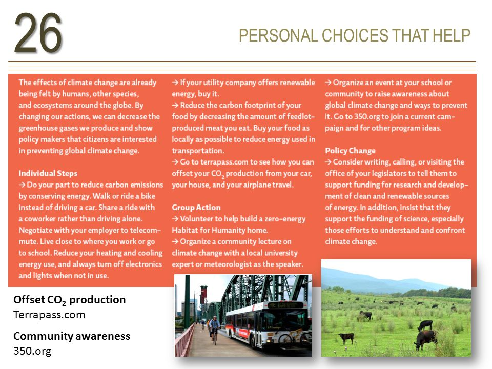 PERSONAL CHOICES THAT HELP26 Offset CO 2 production Terrapass.com Community awareness 350.org
