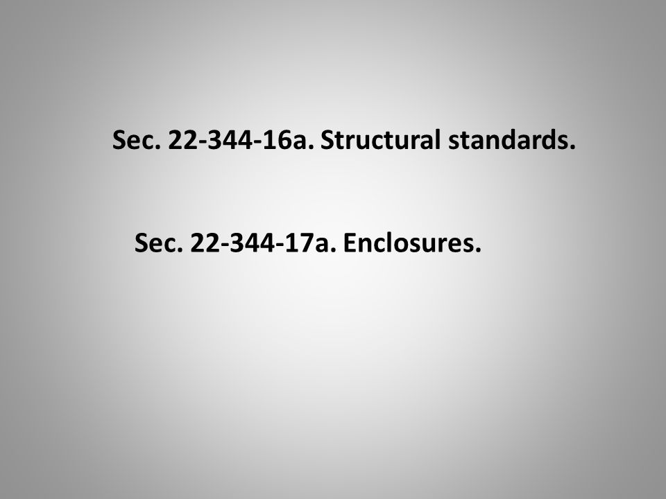 Sec. 22-344-16a. Structural standards. Sec. 22-344-17a. Enclosures.