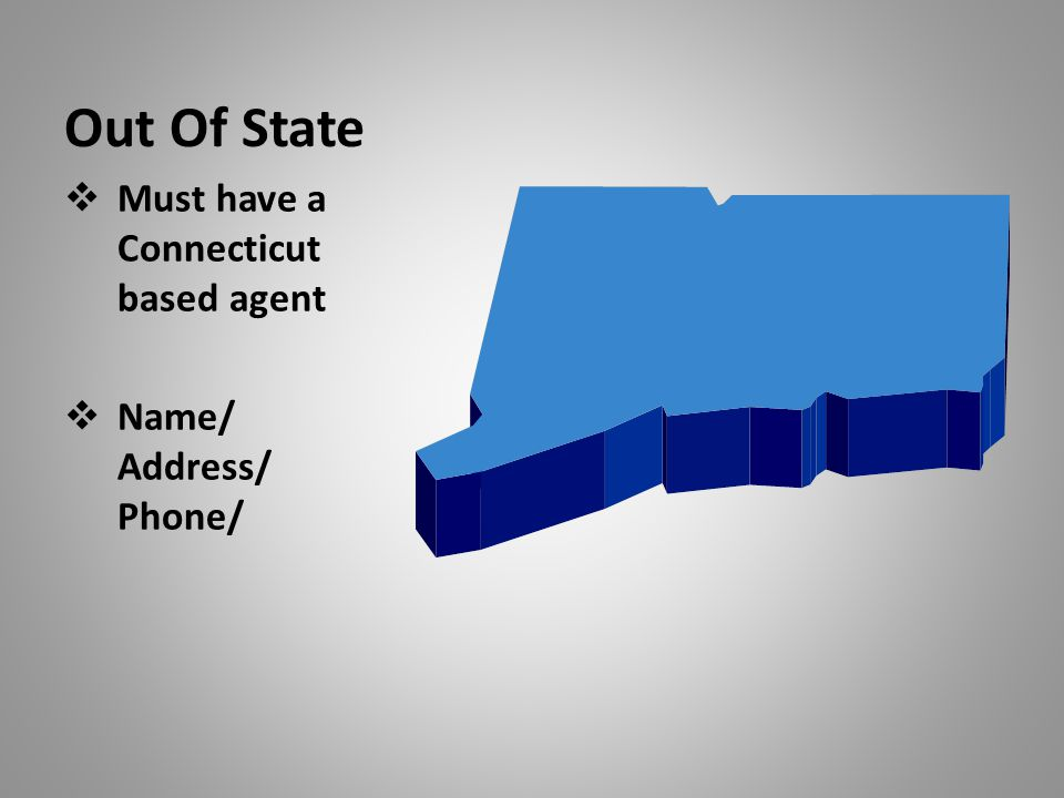 Out Of State  Must have a Connecticut based agent  Name/ Address/ Phone/