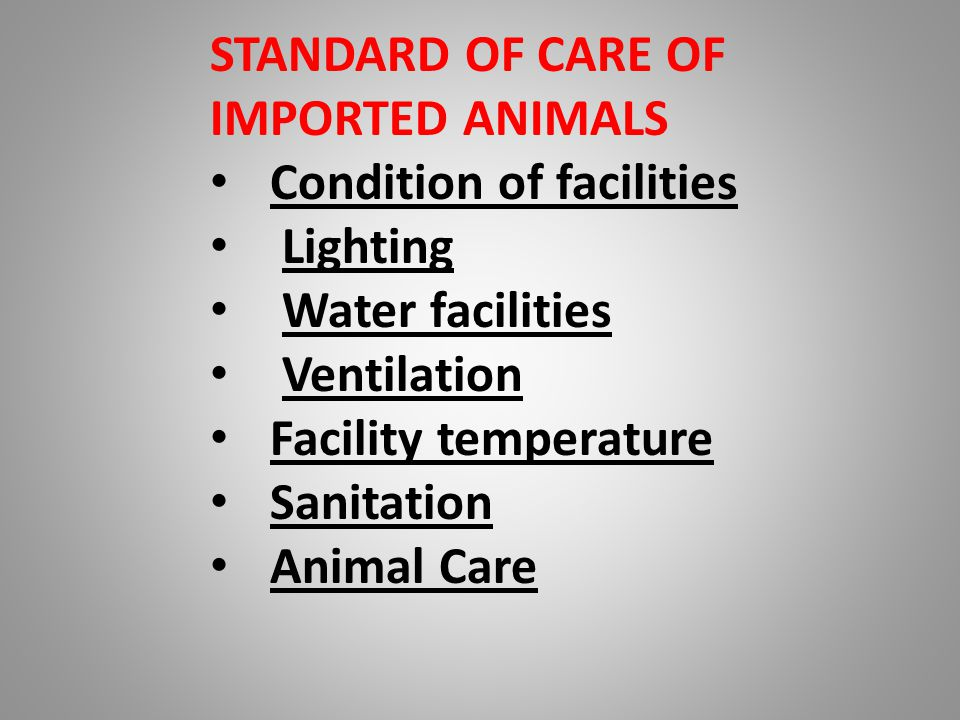 STANDARD OF CARE OF IMPORTED ANIMALS Condition of facilities Lighting Water facilities Ventilation Facility temperature Sanitation Animal Care