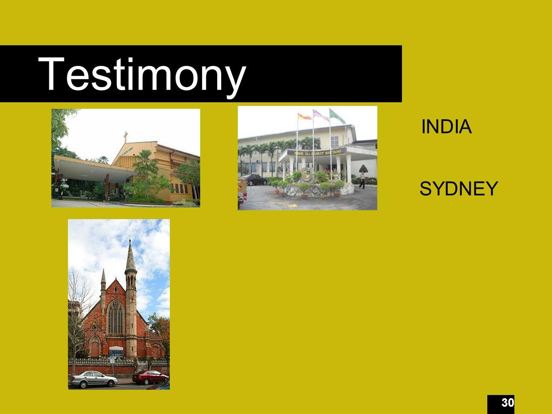 30 Testimony INDIA SYDNEY