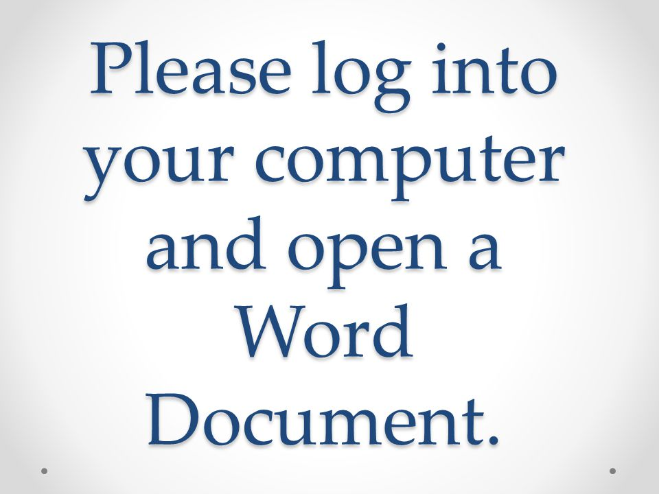 Save your document to your lunch # as Note Taking Do NOT change the font in any way.